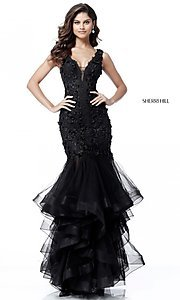 Sherri Hill Long V-Neck Black Prom Dress