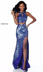 Long High-Neck Sequin Two-Piece Prom Dress