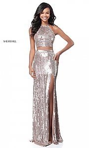 Long Racerback Two-Piece Sequin Prom Dress
