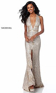 Long Deep V-Neck Beaded Prom Dress with Cut-Outs