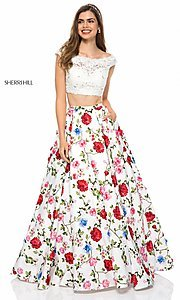 Ivory and Floral Print Sherri Hill Prom Dress