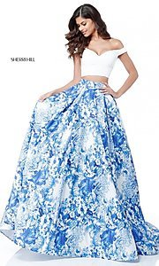 Two-Piece Ivory and Blue Print Prom Dress