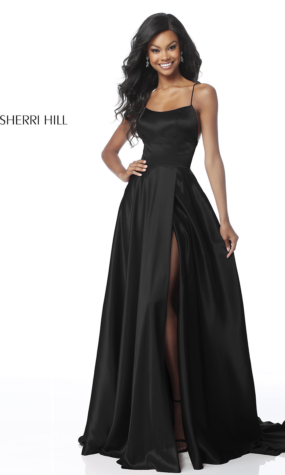 7277cd1d97fe Long Sherri Hill Open-Back Formal Prom Dress -PromGirl