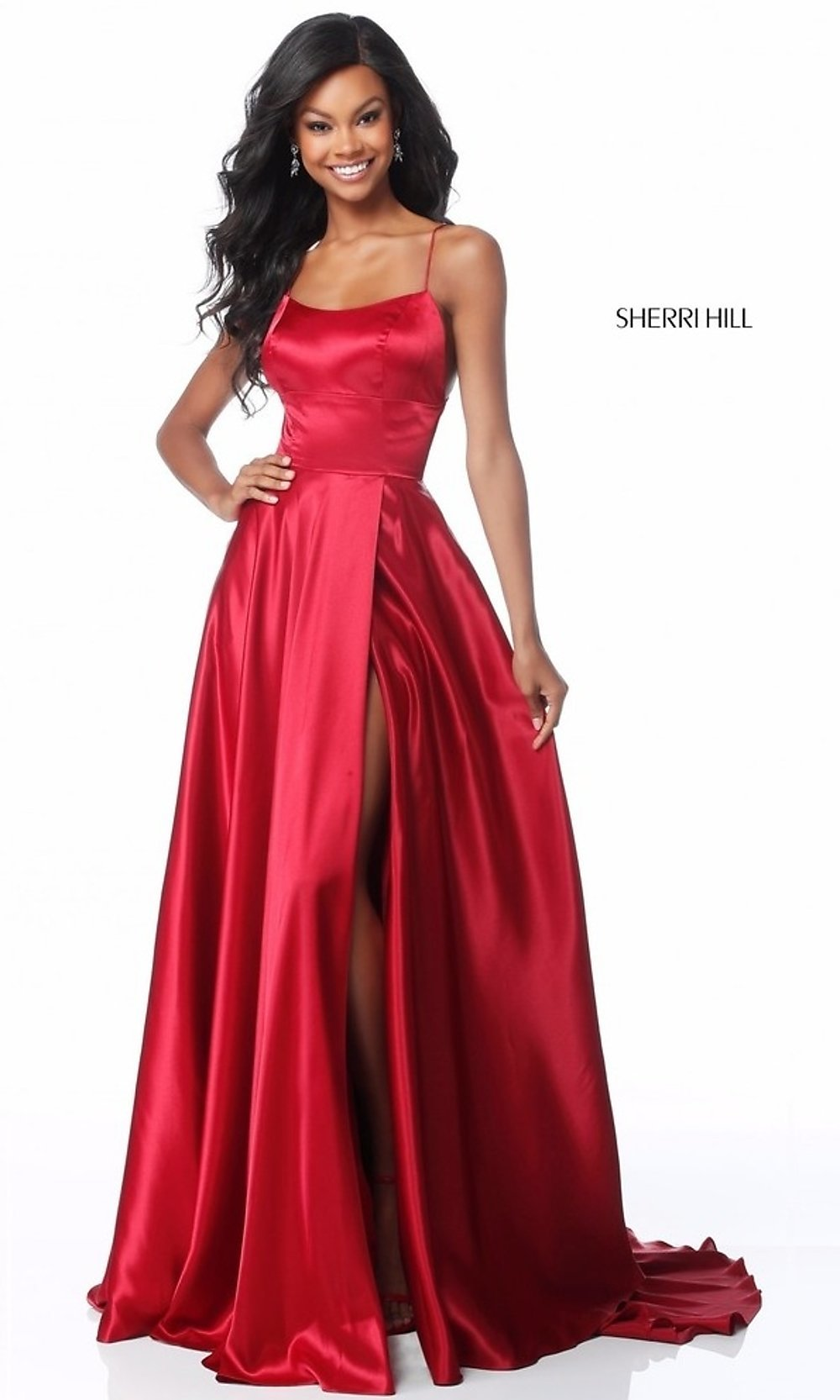2017 Short Front Long Back Scoop Neckline Satin High Low