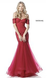 Off-the-Shoulder Sherri Hill Prom Dres