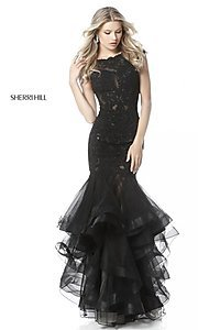 Image of Sherri Hill drop-waist prom dress with tiered skirt. Style: SH-51564 Detail Image 1