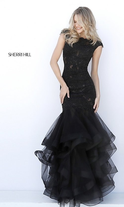 Image of Sherri Hill drop-waist prom dress with tiered skirt. Style: SH-51564 Front Image