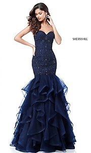 Long Strapless Prom Dress with Beading