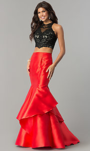 Long Two-Piece Prom Dress with Lace Bodice and Satin Skirt