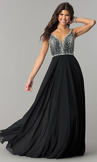 V-Neck Long Prom Dress with Beaded Bodice