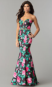 Long Strapless Floral Print Prom Dress