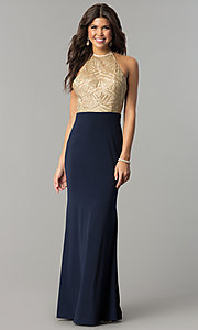 Image of long sequin-halter evening dress with jersey skirt. Style: NC-2126 Front Image