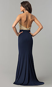 Image of long sequin-halter evening dress with jersey skirt. Style: NC-2126 Back Image