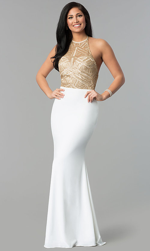 Image of long sequin-halter evening dress with jersey skirt. Style: NC-2126 Detail Image 2