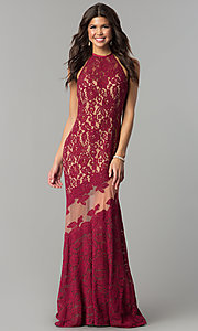 Image of long lace high-neck prom dress with small train. Style: NC-2141 Detail Image 2