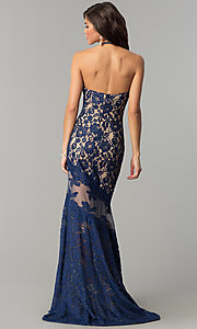 Image of long lace high-neck prom dress with small train. Style: NC-2141 Back Image