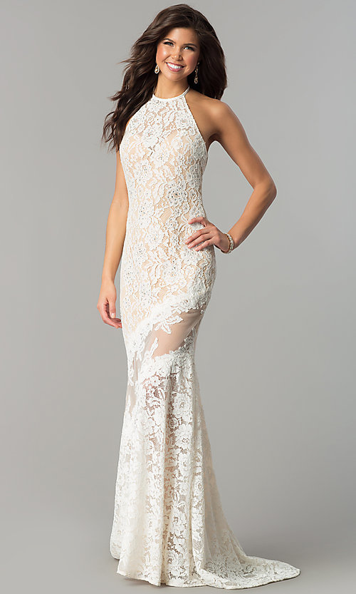 Image of long lace high-neck prom dress with small train. Style: NC-2141 Detail Image 1