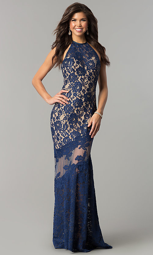 Image of long lace high-neck prom dress with small train. Style: NC-2141 Front Image