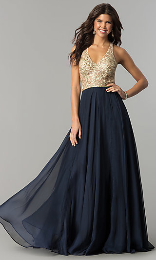 47188d90659 Long Sleeveless Nina Canacci Prom Dress with Chiffon Skirt