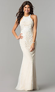Ivory Lace Long Prom Dress with Train