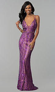 Image of long v-neck prom dress with glitter and rhinestones. Style: NC-8149 Detail Image 3