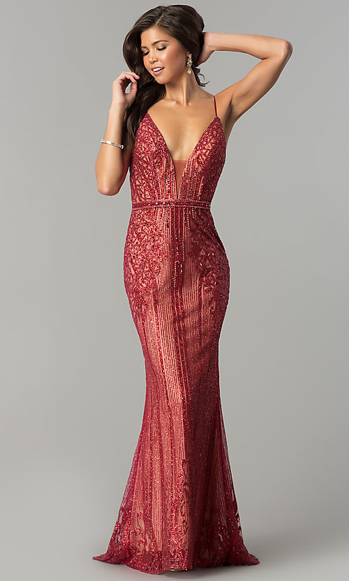 Image of long v-neck prom dress with glitter and rhinestones. Style: NC-8149 Detail Image 1