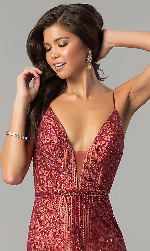 Image of long v-neck prom dress with glitter and rhinestones. Style: NC-8149 Detail Image 2