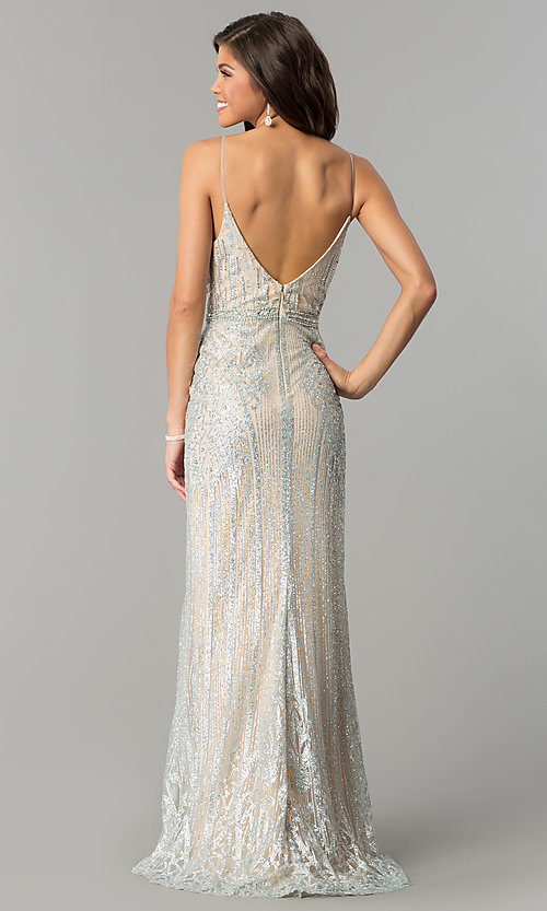 Image of long v-neck prom dress with glitter and rhinestones. Style: NC-8149 Back Image