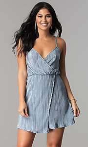 Open-Back V-Neck Crinkle-Silk Short Party Dress