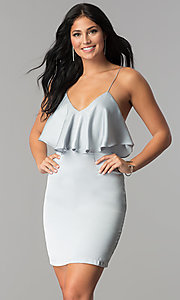 Silver Grey Short V-Neck Flounce Party Dress