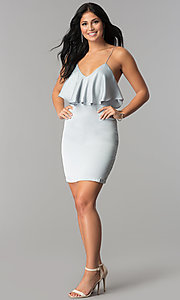 Image of silver grey short v-neck flounce party dress. Style: AC-DA23363B Detail Image 2