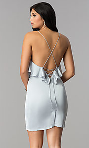 Image of silver grey short v-neck flounce party dress. Style: AC-DA23363B Back Image