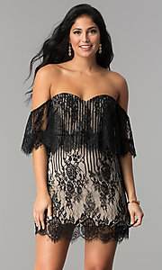 Image of black lace short off-the-shoulder ruffle party dress. Style: AC-DA23575B Front Image