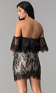 Image of black lace short off-the-shoulder ruffle party dress. Style: AC-DA23575B Back Image