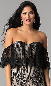 Image of black lace short off-the-shoulder ruffle party dress. Style: AC-DA23575B Detail Image 1
