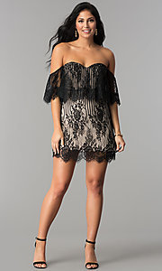 Image of black lace short off-the-shoulder ruffle party dress. Style: AC-DA23575B Detail Image 2