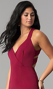 Image of midi-length sheath burgundy red cocktail party dress. Style: AC-DX22251G Detail Image 1