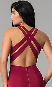 Image of midi-length sheath burgundy red cocktail party dress. Style: AC-DX22251G Detail Image 2