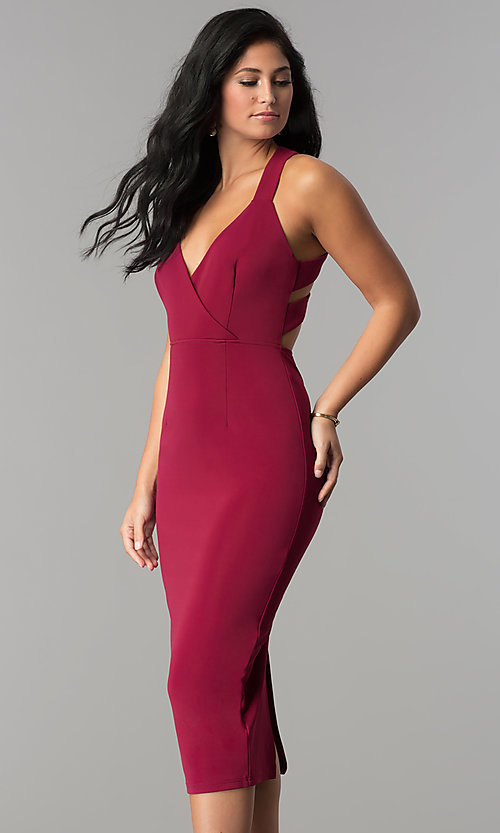Image of midi-length sheath burgundy red cocktail party dress. Style: AC-DX22251G Front Image