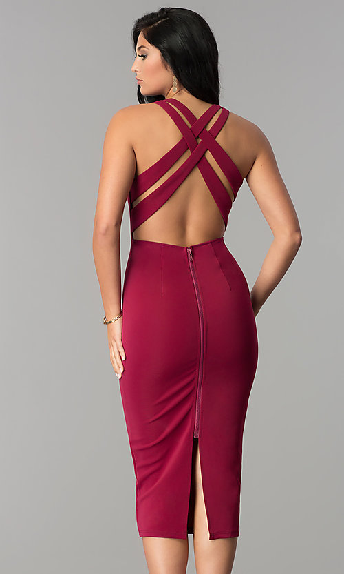 Image of midi-length sheath burgundy red cocktail party dress. Style: AC-DX22251G Back Image