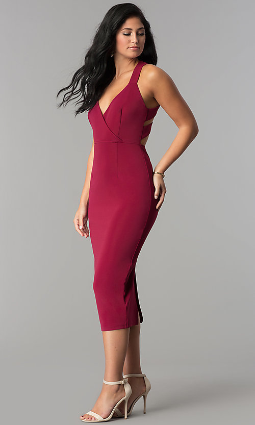Image of midi-length sheath burgundy red cocktail party dress. Style: AC-DX22251G Detail Image 3