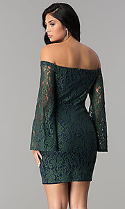 Image of short off-the-shoulder split-sleeve lace party dress. Style: AC-DA24015B Back Image