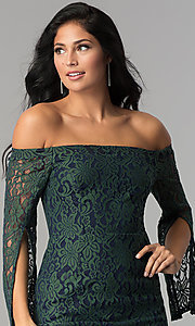 Image of short off-the-shoulder split-sleeve lace party dress. Style: AC-DA24015B Detail Image 1