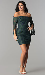 Image of short off-the-shoulder split-sleeve lace party dress. Style: AC-DA24015B Detail Image 2