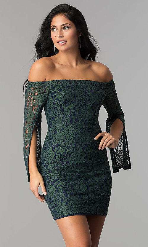 Image of short off-the-shoulder split-sleeve lace party dress. Style: AC-DA24015B Front Image