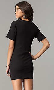 Image of short black casual party dress with cut out. Style: AC-DH24171E Back Image