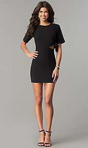 Image of short black casual party dress with cut out. Style: AC-DH24171E Detail Image 2