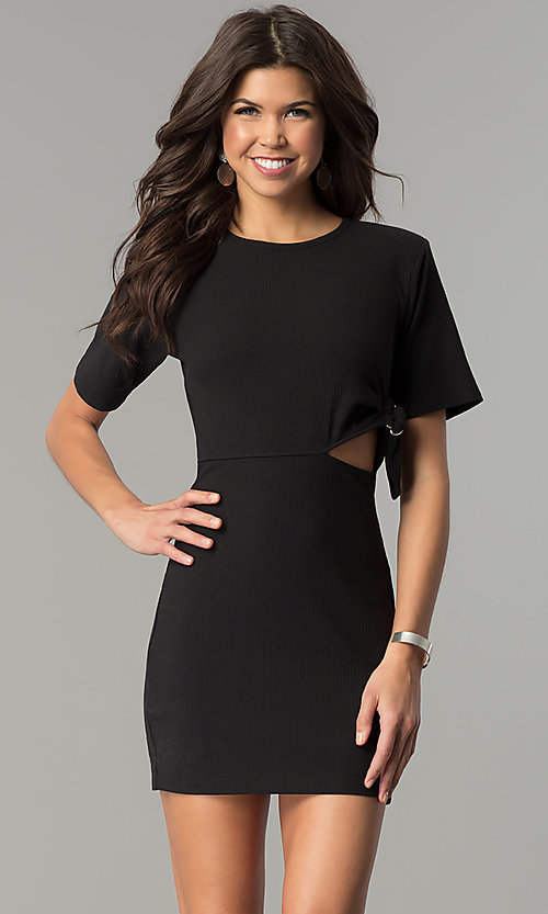 Image of short black casual party dress with cut out. Style: AC-DH24171E Front Image