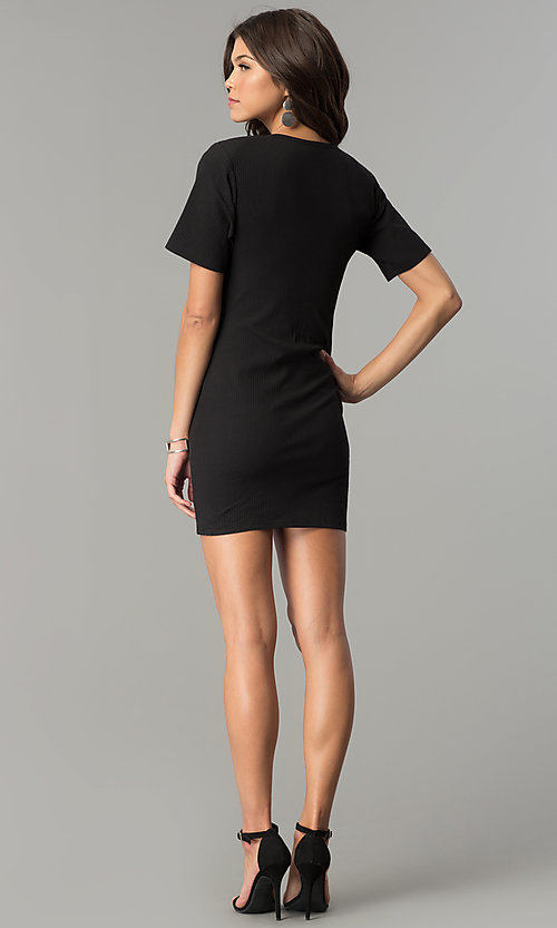 Image of short black casual party dress with cut out. Style: AC-DH24171E Detail Image 3
