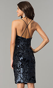 Image of knee-length blue velvet party dress with sequins. Style: AC-DA23984B Back Image
